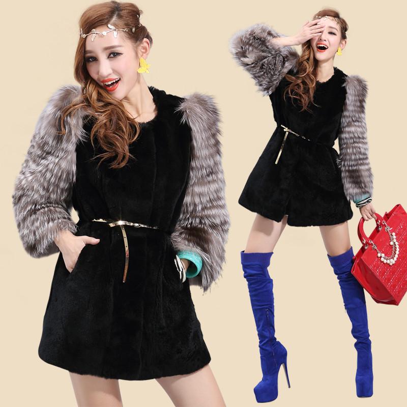 名皮网2013新款进口银狐毛双袖獭兔毛皮草中长款外套无腰带