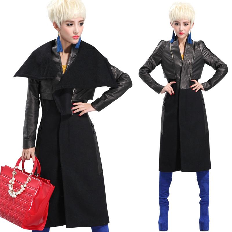 名皮网2013新款高端真皮与羊绒呢料拼接超长大衣风衣气场外套翻领可拆卸